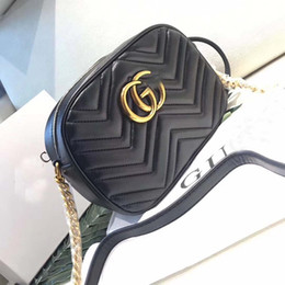 Wholesale Real Handbags - Marmont shoulder bags women luxury brand real leather chain crossbody bag handbags famous designer purse high quality female bag