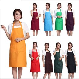 Wholesale Cleaning Accessories Home - Fashion Plain Apron with Front Pocket for Chefs Butchers Kitchen Cooking Craft UK Baking Home Cleaning Tool Accessories