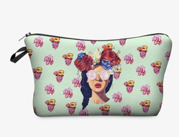 Wholesale Cheap Makeup Bags Cases - 23 Color Large Capacity 3D printing Cosmetic Bags With Multicolor Pattern Cute Pencil Case Coin Purse Women makeup bags cheap sales