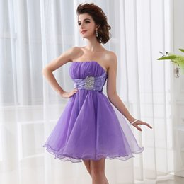 Wholesale Purple Chiffon Tiered Bridesmaid - Cheap In Stock Evening Prom Dresses 2017 Short Bridesmaids Dresses Strapless Cocktail Dresses Fast Shipping SD018