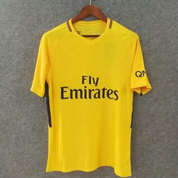 Uniformes amarelos on-line-Perfeito 17/18 neymar jr 10 PARI camisa amarela de futebol slim fit uniforme de futebol AEROSWIFT versão jogador camisa de futebol fotbul AAA Mpabbé