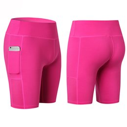 Wholesale Sports Trousers For Women - Sexy Pocket Gym Women Shorts Compression Fitness Tight Athletic Clothing for Yoga Sports Trousers Running Legging Short 1PC