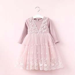 Wholesale Kids Prince - Girl Dress 2017 Autumn Girl Prince Dress Kids Long Sleeve Lace Dress High-grade Dresses Party Clothing