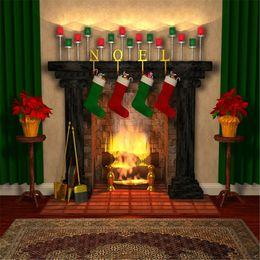 Medias de fotos online-Chimenea interior foto de Navidad telones de fondo Fond Photographie Noel impreso medias de regalo telón verde Home Party Booth fondo 10x10ft