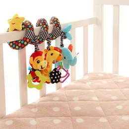Wholesale Iq Baby Toys - Wholesale- Baby Rattles Baby IQ Development Early Learning Toy Monkey Elephant Bed Crib Hanging Plush Toys with Bell
