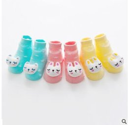 Wholesale Toddler Doll Shoes - 2017 Korea Newborn Socks Cotton Anti-slip Ankle Rabbit Bear Doll Socks Shoes Infant Toddler Shoes Soft Boneless Socks 48