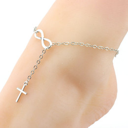 Wholesale Silver Connectors For Jewelry - Infinity Connector Anklets Bracelets With Cross Pendant Barefoot Sandals Jewelry Fashion Beach Jewelry Foot Chain For Women