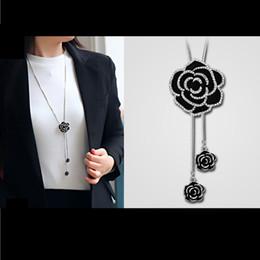 Wholesale Wholesale Cc Charm - Wholesale- N93 CC Camellia Black Flowers Famous Luxury Brand Designer neckless collares largos Charm Jewelry Necklace 2016 New For Women