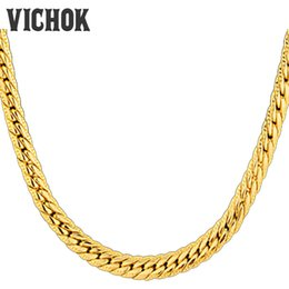 Wholesale Anniversary Necklace For Women - Fashion Link Chain Necklace 316L Stainless Steel Chain Necklace DIY Accessories For Women Men Promotion Price Gold Color VICHOK