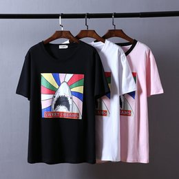 Wholesale Slim Fit Designer Shirts Men - Fashion Mens Brand T Shirts Rainbow Shark Print Poloshirt Shirt Men Short Sleeve Pure Cotton Couples Slim Fit Designer T Shirts For Men