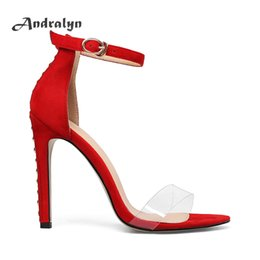 Wholesale Leather Covered Belt Buckles - Andralyn super high heels for women Belt sandals red suede thin heel buckle strap zapatos mujer fashion rivet ladies shoes