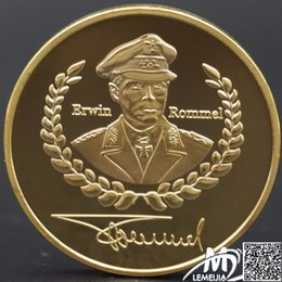 Wholesale Germany Coins - Battle of El Alamein Victory Commemorative Coins Rommel Gold Plated Germany WW2 World War II Collection replica of 100% Original