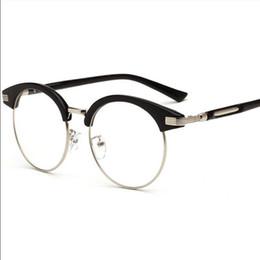 Wholesale Plain Fashion Glasses For Women - Fashion Accessories Sunglasses Frame Luxury Brand round sunglasses for women sun glass Plain mirror Semi Rimless Retro student gift new