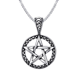 "Wholesale Pentagram Charms - Vintage Style Jewelry Pentagram Pentacle Pagan Wiccan Witch Gothic Pewter Pendant Necklace for Men Woman 24"" Chain Choker PN-566"