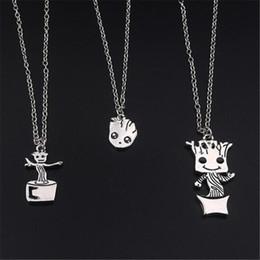 Colgante del groot online-Movie Jewelry Charm Necklace Baby Groot Colgante Guardianes de la Galaxia Collar Diseños Joyería Plateada de Plata Movie Groot Kawaii Jewelry