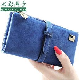 Wholesale Ladies Leather Drawstring Bag - Wholesale- 2017 Rushed Brand Lady Bags Women Wallets Purse Matte Drawstring Nubuck Handbags Leather Zipper Long Two Fold Clutch Card Holder