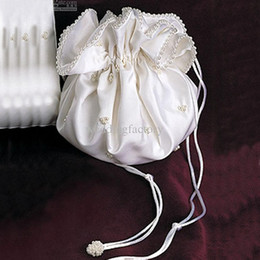 Wholesale Satin Pearl Bags - Stunning Bridal Hand Bags Beaded Bridal Pockets with Ribbons and Beadings Pearls Gorgeous Wedding Accessaries Custom Made Bridal Purse