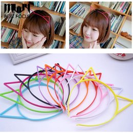 Wholesale Wholesale Cat Ear Headband - MLJY Girl Hair Hoop Colour Cute Cat Ear Hairband Plastic Headband Hair Band Accessories 12pcs lot drop shipping