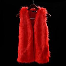 Wholesale Long Faux Fur Vest White - Fashion Women Faux Fur Vest Special Slim Long Fuax Fur Coat Women Xxl Gilet Fourrure Rabbit Black  Red  Brown