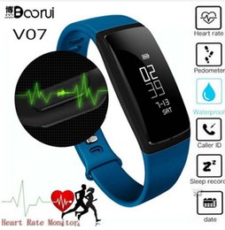 Wholesale Iphone Blood - 2017 V07 Smart Band Blood Pressure Monitor Heart Rate Monitor Sports Wristband Bluetooth Smartwatch for Android iOS iPhone LG Sony Xiaomi