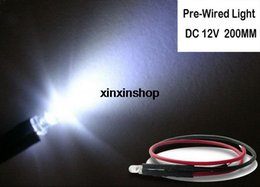 Wholesale Led Pre Cable - Wholesale- 20pcs 3mm Pre wired LED Round light lamp bulb chip beads 20cm cable wire DC 12V white warm Red Green Blue Yellow free shipping