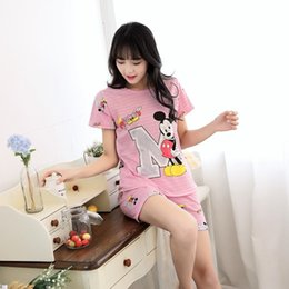 Wholesale Red Pajama Shorts - Women Pajamas Sets Hot Summer Short Sleeve Thin Lovely Cartoon Print Cute Loose Sleepwear Girl pijamas Mujer Nightgown For Women