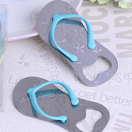 Wholesale flip flop bottle opener starfish - 2017 Starfish Design Flip-Flop Beach Metal Bottle Opener Wedding Favor Box Lovely Corkscrew Kitchen Free Shipping