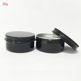Wholesale Aluminium Cosmetic Containers - Empty Containers 50PCS LOT 50Ml Black Empty Sample Jars Cosmetic Jars Aluminium Containers For Cosmetics Aluminum Makeup Case