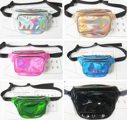 Wholesale Laser Belts - Waterproof Laser Fanny Pack Hip Waist Pack Belt Pouch Women Unisex Waist Belt Bag PU Hologram Money Belts Travel Cashier Pouch