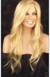 Wholesale Blonde Wig Skin - Free Shipping>>> new LONG Wavy Skin Part Top Golden Blonde Like Genuine hair Wig
