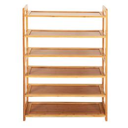 Stockage de chaussures en bambou en Ligne-Nouveau support en bambou durable de support de stockage de Storageway de meubles de maison de rangée 6 en bambou durable