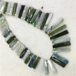 """Wholesale White Jadeite - Natural Genuine Raw Mineral Green Jadeite Jade Slabs Slices Flat Stick Beads Drill Side Fit Jewelry Necklace Bracelets 15"""" 04319"""