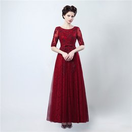Wholesale Donna Gray Dress - Free Shipping Long Dresses for Evenings Party Abiti Cerimonia Donna Sera 2017 Burgundy Lace Backless Prom Dresses with Sleeves