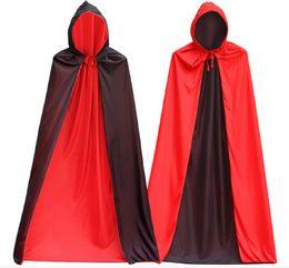 Cooler umhang online-Sehr cool Vampir Kostüm der Männer Schwarzer Mantel mit Kappe, Halloween Kostüm Kleid Cape für Vampir Magier Doppelgesicht Polyester Mantel, kann