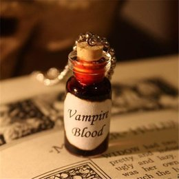 Wholesale Silver Vial - 12pcs lot Vampire Blood Necklace Vampire's Blood Glass Vial Pendant Charm Pendant silver tone