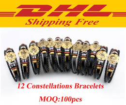 Wholesale Dhl Free Shipping Bracelet - DHL free shipping 12 Constellations Bracelet 2017 New Fashion Jewelry Leather Bracelet Men Casual Personality Zodiac Signs Punk Bracelet