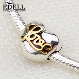Wholesale Glass Cube Clips - EDELL Authentic 925 Sterling Silver Heart of Love Clip Charms Fit Original Bracelet Pendant Necklace DIY Jewelry Making 3002