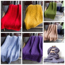 Wholesale Knitted Photography Props - 20 Colors 3 Sizes Knitted Blanket Handmade Weaving Photography Props Crochet Linen Woolen Blankets Christmas Gifts CCA7793 30pcs
