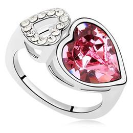 Обручальные кольца для женщин двойные сердечные кольца элегантный дизайн ювелирных изделий из кристаллов Swarovski Elements 13145 от Поставщики вынос мотоцикла