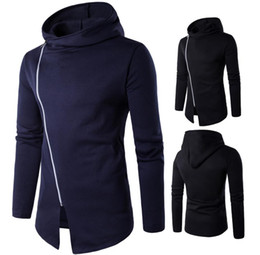 Wholesale Cardigan Styles For Men - Incline Zipper Hoodie Men Hooded Design Long Sleeve Solid Color Brief Style Slim Fit For Man Sweatshirts Hoodie Free Shipping 2017 Casual
