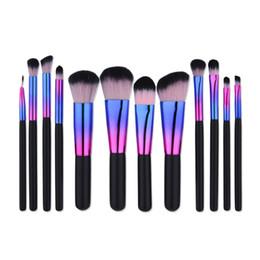 Wholesale Bright Foundation - 7   12 PCS Kakuki Makeup Brushes Set Professional Colorful Bright Synthetic Foundation Powder Blush Eyeshadow Eyeliner Oval Makeup Brush Kit