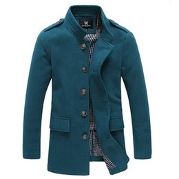 Wholesale Mens Dust Coats - Wholesale- High quality 2016 Men's Winter Dust Coat mens Overcoat winter Male Fashion Skinny Trench Coat Long Trench coats for men