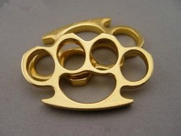 Wholesale Gear Gold - new GILDED THICK THICK 13mm STEEL BRASS KNUCKLE DUSTER color Gold plating silver self defense tool brass knuckle clutch