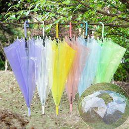 Wholesale Rainbow Umbrellas - Clear Umbrella Rainbow Color Transparent Straight Handle Fashion Bumbershoot Advertising Sunny Umbrellas Simple White Green Blue New 3 7yy R