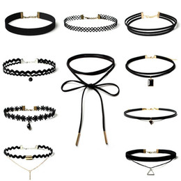 Wholesale Leather Lace Collar - 10pcs set Sexy Black Gothic Punk Velvet Tattoo Lace Choker Necklace Long Pendant Jewelry Women Lady Collar Chocker Y#173 Q#62