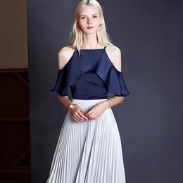 Wholesale Womens Fashion Feathers - 2017 New Fashion Summer Women Slash Neck Feather Sleeve Sexy Chiffon Shirt Womens One Shielded Shoulder Shirt For Women