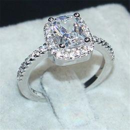 Wholesale Princess Cut Diamond Band - Eternal 925 Sterling Silver Jewelry Princess-cut 3CT White Topaz Diamond Rings finger Wedding Band Ring for Women Size 5,6,7,8,9,10