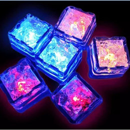 Wholesale Ice Cubes Change Color - LED Ice Cubes Fast Flash Night light Slow Flash 7 Color Changing led lamp Crystal Cube Valentine's Day Party Wedding holiday light