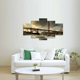 Wholesale Gates Oil - 5pcs set Unframed San Francisco Symbol Golden Gate Bridge Oil Painting On Canvas Giclee Wall Art Painting Art Picture For Home Decor