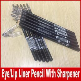 Wholesale Eyebrow Pencil Sharpener - Eye Lip Liner Pencil With Pencil Sharpener Aloe Vera & Vitamin E Black Brown Color Waterproof Eyebrow Eyeliner 1.5g 0.04oz